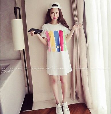 2017 Sweet Korean Fashion Short Sleeve Letter Printed Summer Loose Shirt Dress