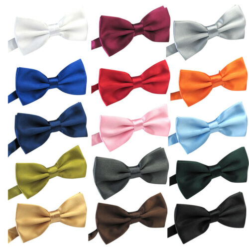 Mens Silk Satin Plain Tuxedo Solid Bow Tie Formal Wedding Bowtie Necktie Ties US