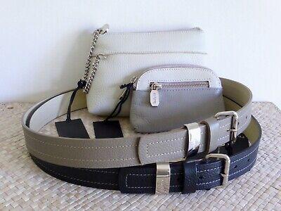 Flight Tracker PrÜne Argentina Leder-set/clutch+portemonnaie+gürtel Weiß/taupe/grau/schwarz Neu