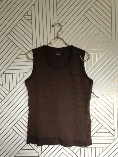 Coldwater Creek Womens Top Shirt Camisole Size Brown Sleeveless Sz M