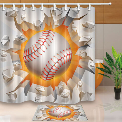 Baseball game Polyester Waterproof Bathroom Shower Curtain 180*180cm new