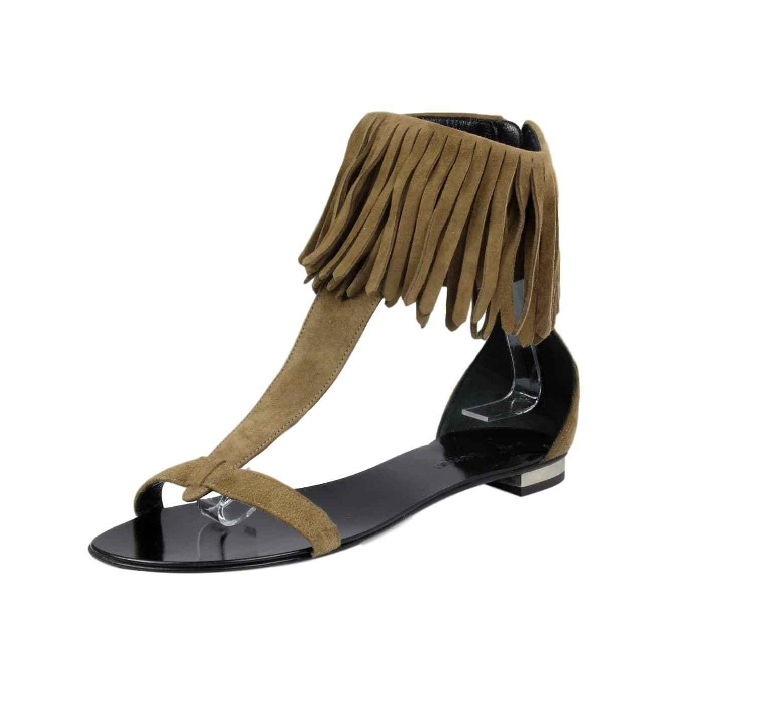 NWT Giuseppe Zanotti x Balmain Brown Suede Ankle Fringe Sandals SZ US 8 Ret  745