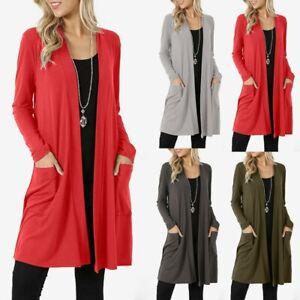 Women-Casual-Solid-Cardigan-Long-Sleeve-Front-Open-Cardigan-Pocket-Coats-CA