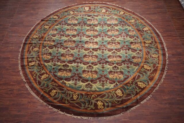 14X14 Round William Morris Signed Wool Art & Craft Burgundy Area Rug (13' 9