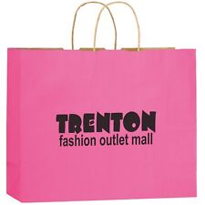 100 Matte Color Twisted Paper Handle Shopper Printed With Logo Message 16x13