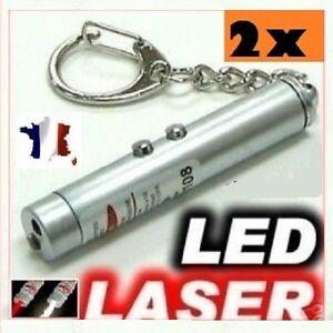 lot de 2 Pointeur Laser rouge 3 En 1- Laser  / Lampe De Poche LED / Porte Clé