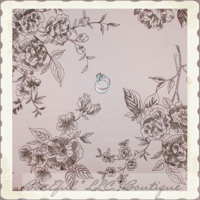 BonEful Fabric FQ Cotton DECOR Baby Light Pink Brown Corduroy Rose Flower Toile
