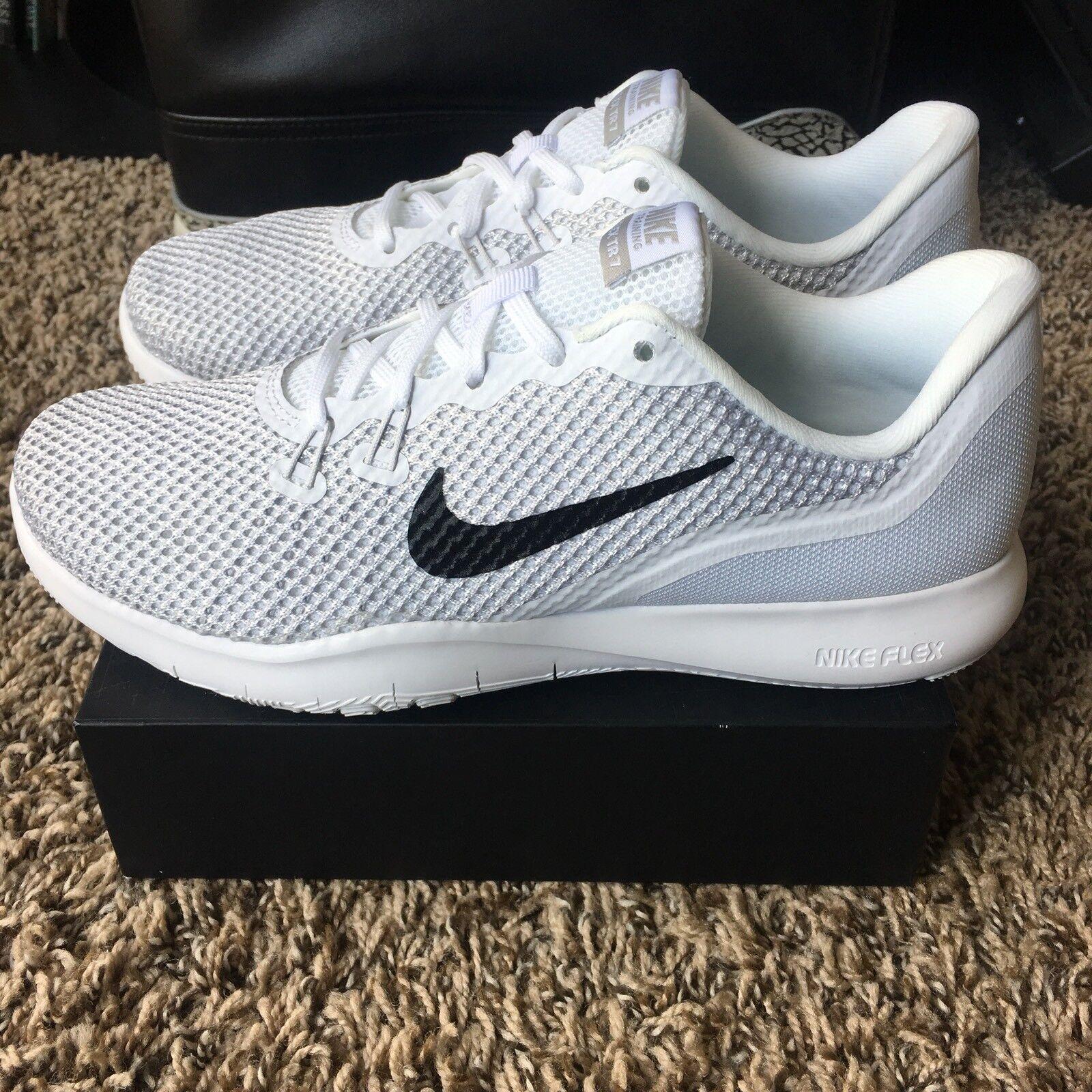 4b1f41839680 Nike Womens Flex Flex Flex Trainer 7 White Metallic Silver Shoes 898479 100  NEW 294c9d