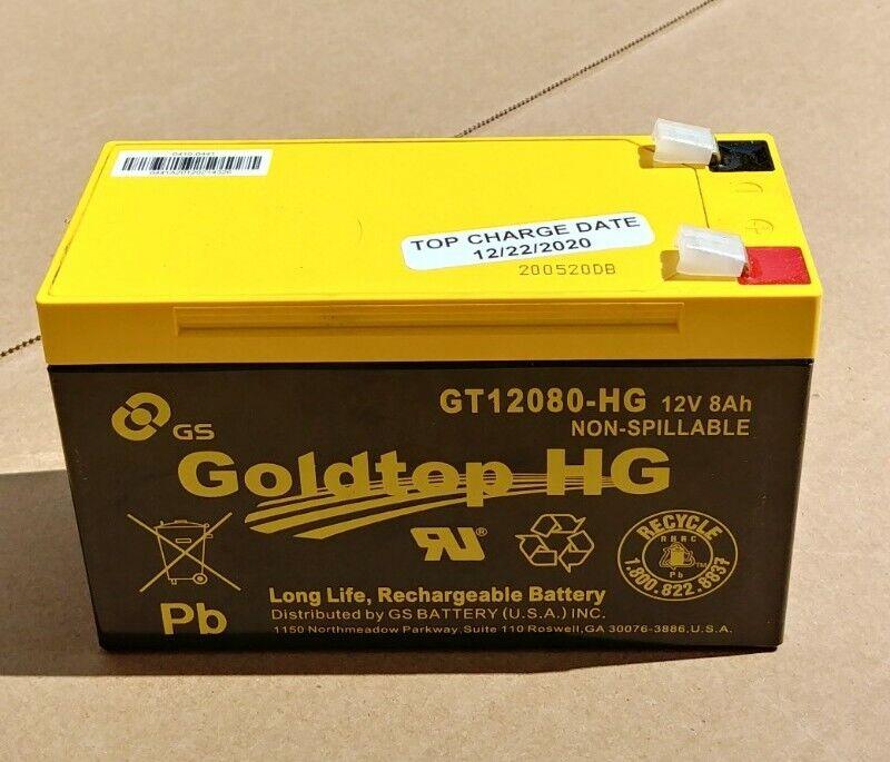(12/22/20) Goldtop GT12080HG 12V8AH Long Life Rechargeable - NEW