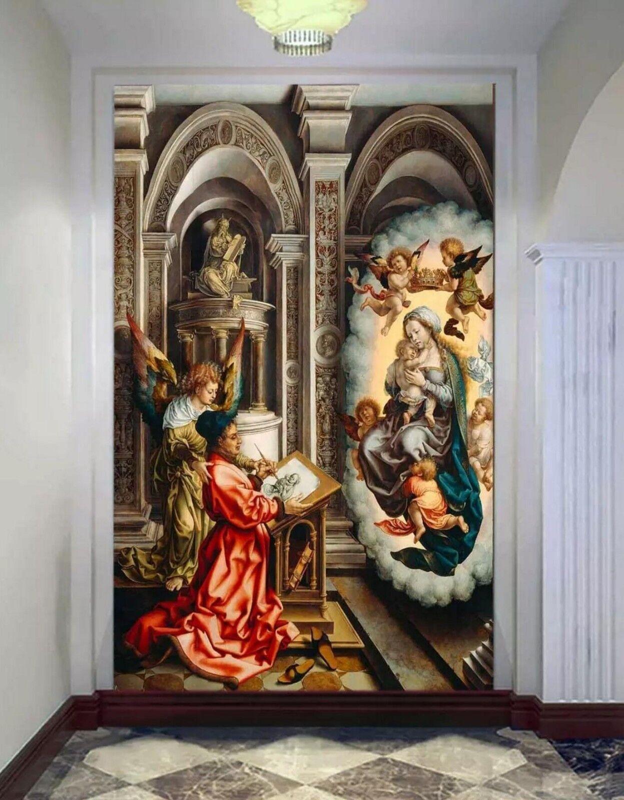 3D Engel Kirche Malerei 88 Tapete Wandgemälde Tapete Tapeten Familie Kinde DE