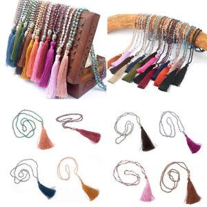 Women-039-s-Pendant-Boho-Beaded-Necklace-Long-Sweater-Tassels-Chain-Jewelry-07AU