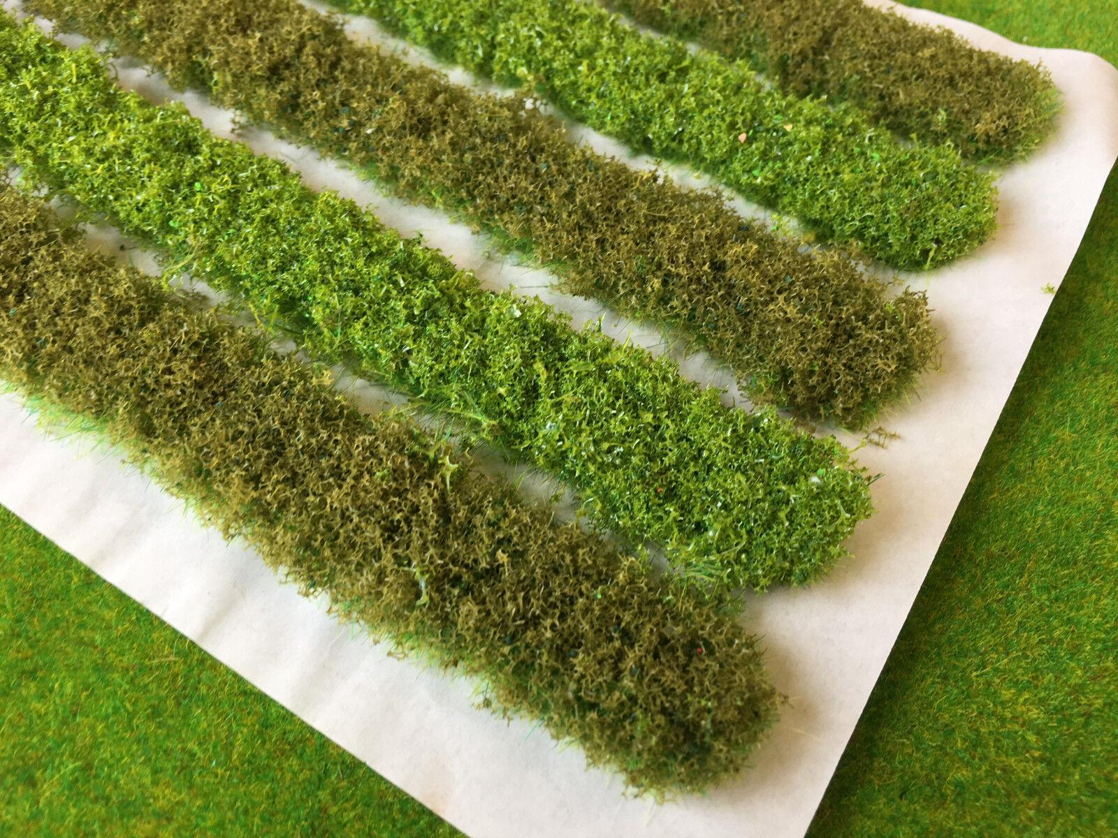 5x 18cm Bushy Hedge Strips Static Grass Tufts Model Scenery Wargame Railway