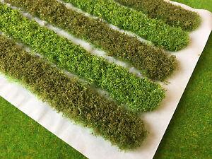 5x-18cm-Bushy-Hedge-Strips-1-Static-Grass-Tufts-Model-Scenery-Wargame-Railway
