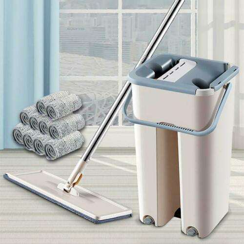 Microfiber Mop Pads Set Flat Squeeze Mop And Bucket Free Washing Self Cleaning
