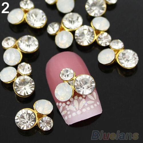 10Pcs Elegant 3D Alloy Glitter Rhinestone DIY Decorations Nail Art Tips Stickers