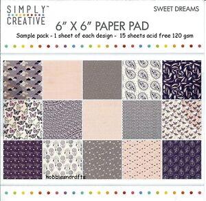 Einfach-Kreativ-Sweet-Dreams-Papier-6-X-6-Muster-Packung-120-G-15-Blatt