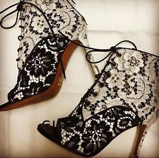 NIB GIVENCHY Black & White Lace Peep Toe Macrame Booties Shoes Heels Sz 36 EU