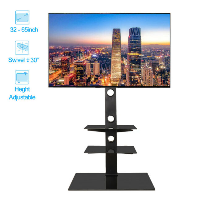 Universal 32 - 65 inch Floor TV Stand with Swivel Mount Heavy Duty 3 Tier Shelf