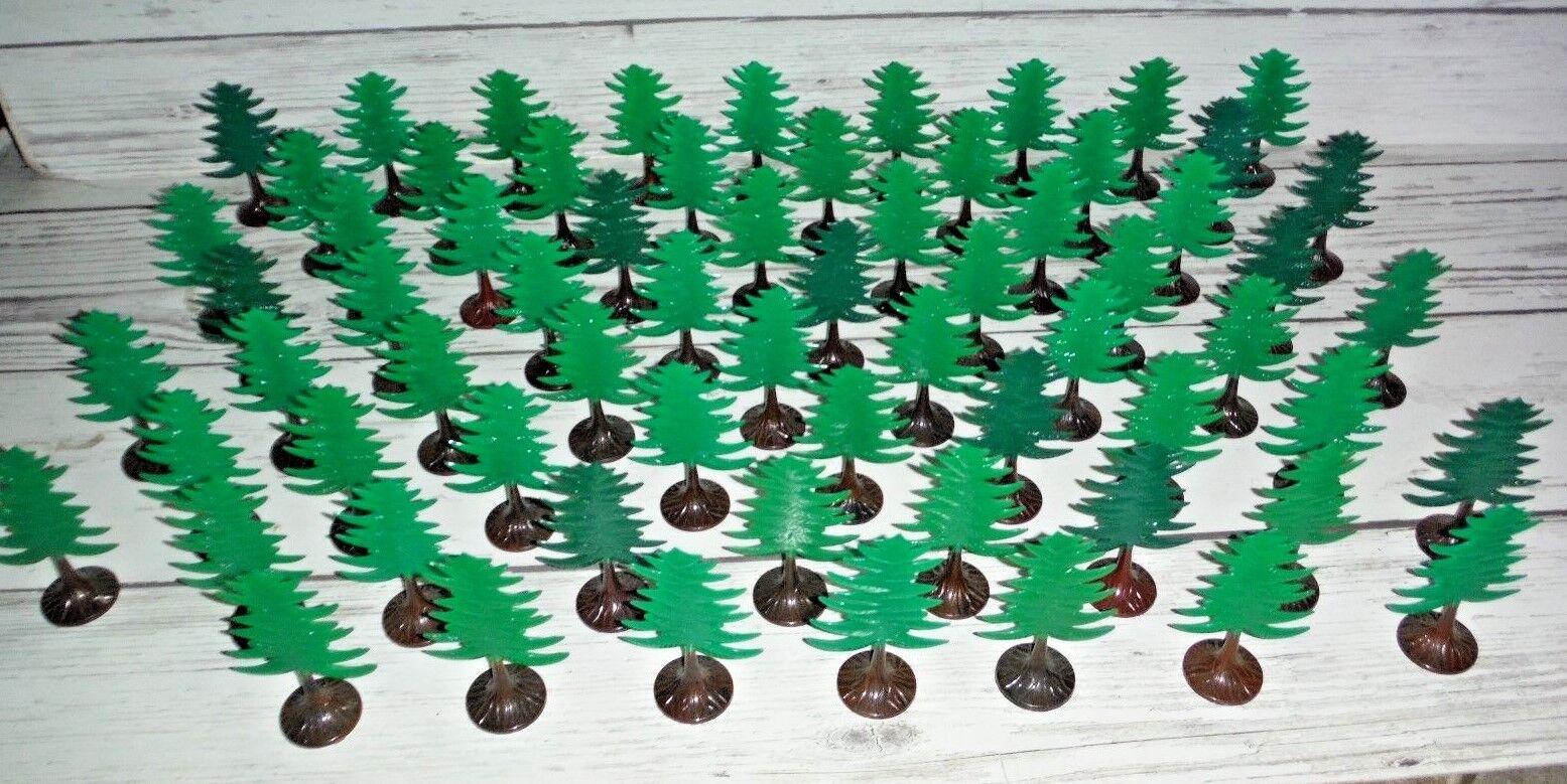 Lot of 67 Vintage Hard Plastic Christmas Trees Train Village