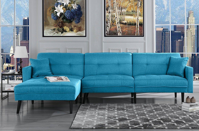 Mid Century Modern Style Sofa Sleeper Futon Sofa L Shape Sectional Sky Blue