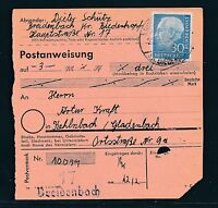 88570) Postanweisung mit EF 30PF Heuss I Breidenbach Kr Biedenkopf - Gladenbach