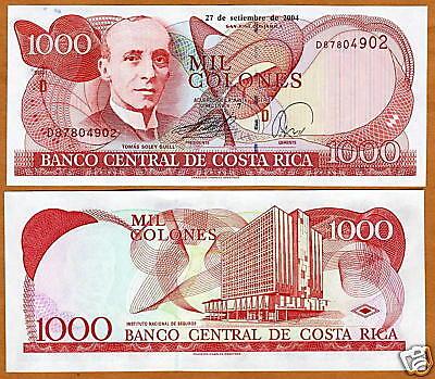 1000 Unc Grade Products According To Quality Colones 2004 P-264 Genteel Costa Rica 1,000 264e