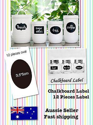 Chalkboard Label Sticker Vinyl, Oval Design 12 Pieces, Lolly Jars Label Wedding