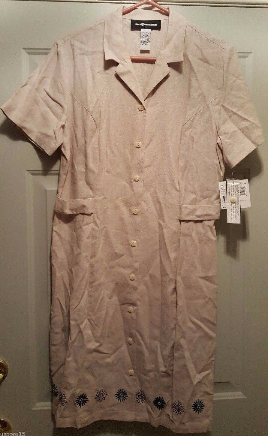 Sag Harbor NWT Womens 55% Linen Brown bluee Floral Button Front Dress Size 14