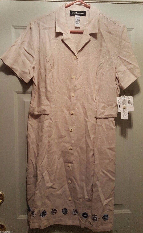 Sag Harbor NWT Womens Linen Brown Blue Floral Button Front Dress Size 14