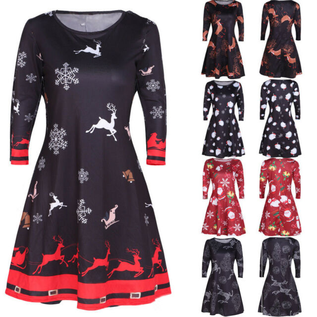 Women's Long Sleeve Mini Dress Christmas Party Xmas Cocktail Flared Swing Skirt