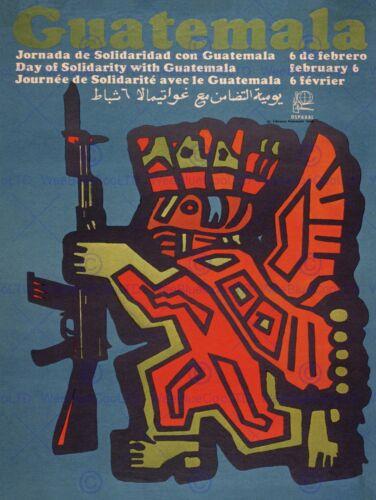 PROPAGANDA CUBA GUATEMALA REVOLUTION MAYA RIFLE SOLIDARITY POSTER PRINT BB2428B