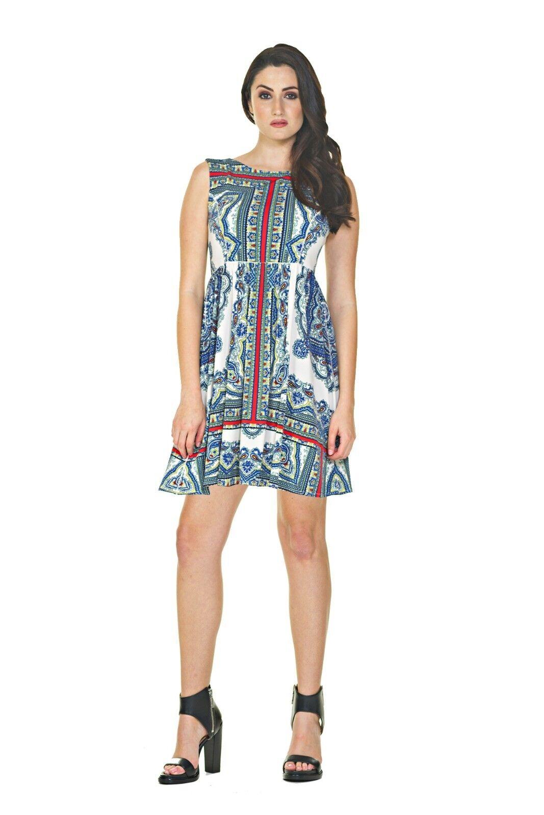 Eva Varro Kolkata Paisley Jersey Peggy Sleeveless Knee-Length Dress M New