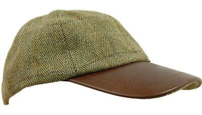 Deluxe Light Derby Tweed Leather Baseball Skip Cap Fishing Hat Hunting Walking