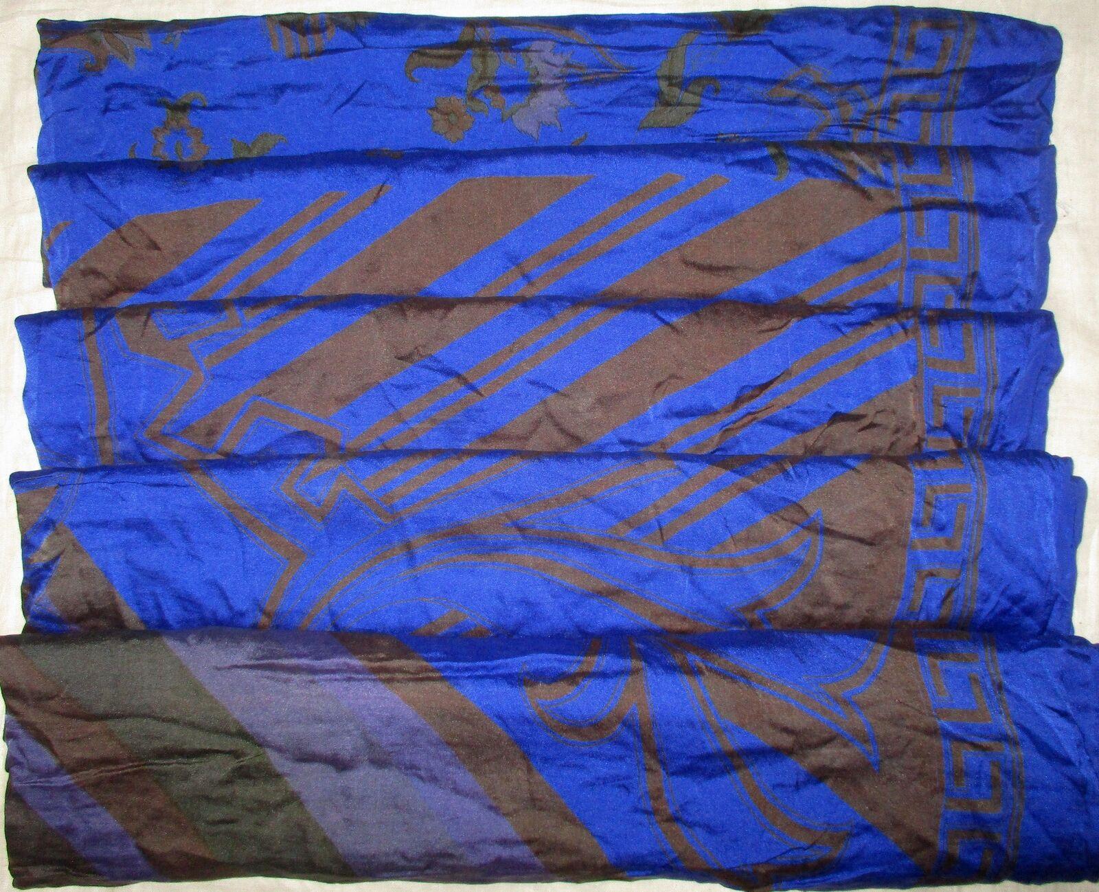 WEARABLE SILK BLEND ANTIQUE VINTAGE SARI SAREE 5 YD Ga29 Blue Black #ABHZI