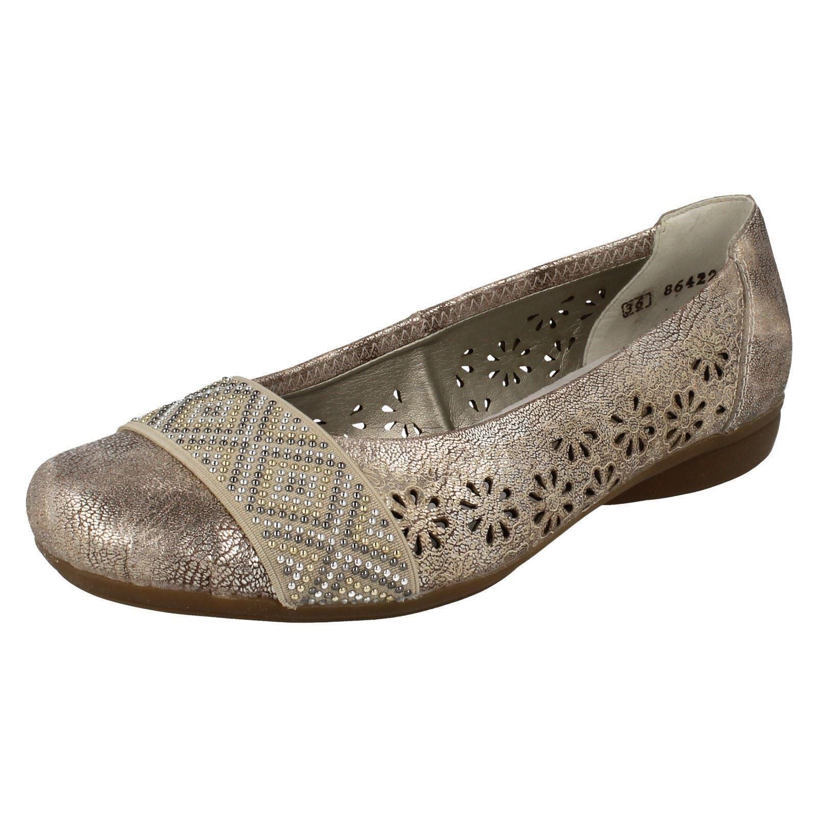 Femmes Métallique à Enfiler Plates Dolly Ballerine RIEKER Chaussures L3857
