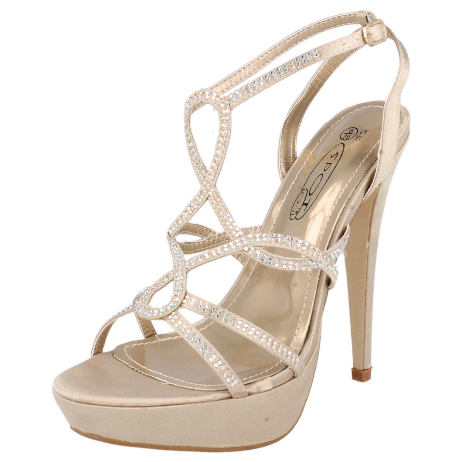 Spot On F10171 Ladies Lt Gold Platform Shoe