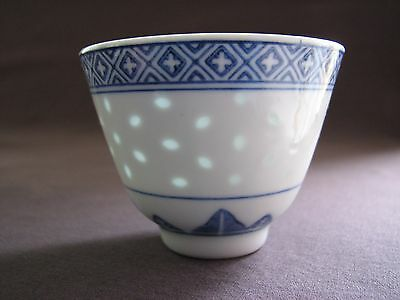 2 Vintage Chinese Porcelain Blue White Flower Translucent Rice Grain Tea Cups