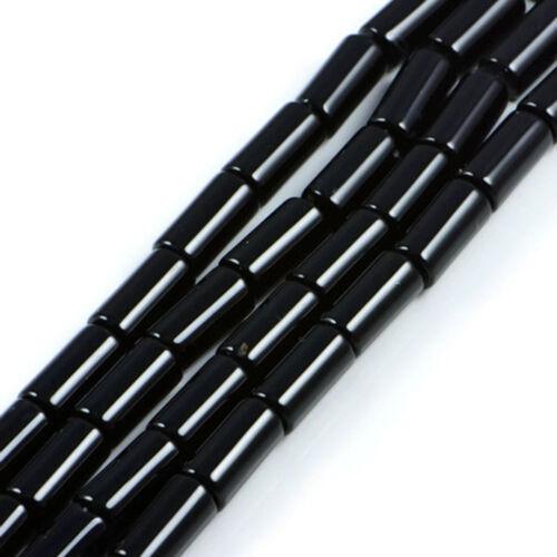 "Semi-Precious Black Agate 10x16mm Gemstone Jewellery Making Beads on 15.5/"" St..."