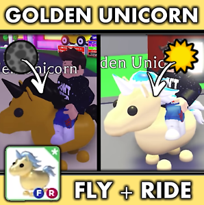 Adopt Me Roblox Golden Unicorn Fly Ride Best Deal