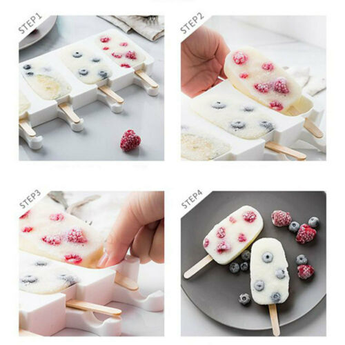 Children Silicone DIY Ice Cream Mold Freezer Popsicle Sticks Lolly Molds Cool
