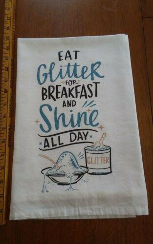 Vtg tea towel cotton Primitives by Kathy Eat Glitter for Breakfast