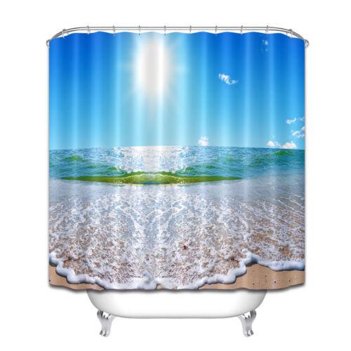 100/% Polyester Fabric Summer Sunny Sky Seascape Shower Curtain Bath Mat Hooks