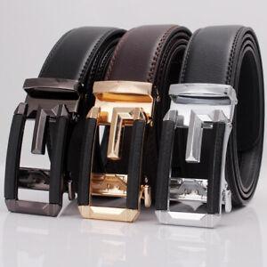 Luxury-Mens-Leather-Ratchet-Belt-Automatic-Metal-Buckle-Waistband-Strap-Waist