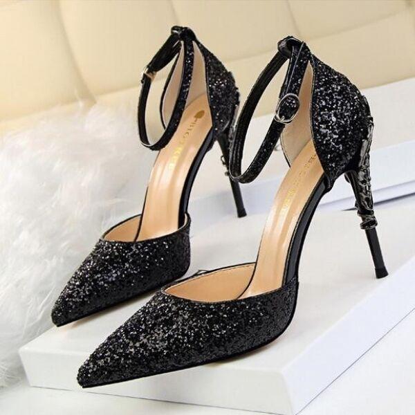 Pumps Sandale Stilett 9.5 elegant schwarz Gurt glitter simil Leder CW712