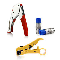 Compression Tool Stripper Coax Stripper Cable Cutter and 20pcs RG6 Connector US