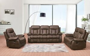 Betsy Furniture 3 Pc Recliner Sofa Set Living Room Microfiber Fabric