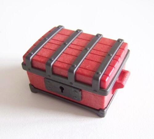 Fermeture en Parfait Etat Coffre Rouge Foncé /& Noir 1161 PLAYMOBIL