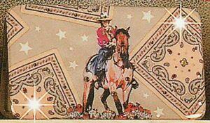 Nocona-Retro-BANDANA-Western-FLAT-WALLET-Crystals-Horse-Bucking-Bronc-Rodeo-81