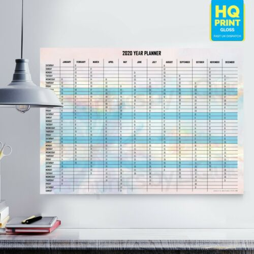 2020 Yearly Planner Annual Wall Chart Year Planner In BlueA4 A3 A2 A1
