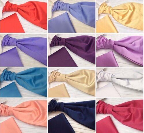 Men/'s Pre-Tied Cravat Scrunchie Matching Pocket Square Satin Finish UK Branded